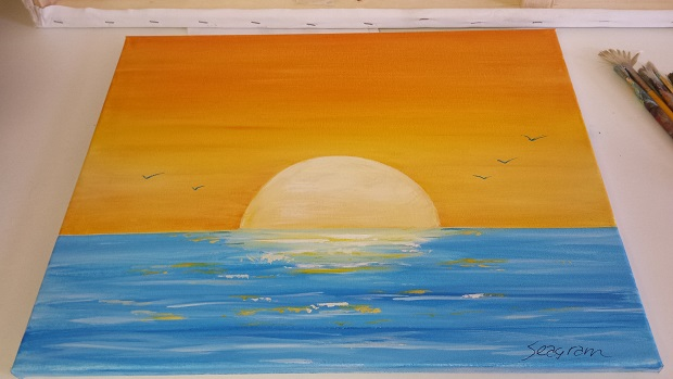 How To Paint A Sunset – Acrylic Seascape Painting Lesson