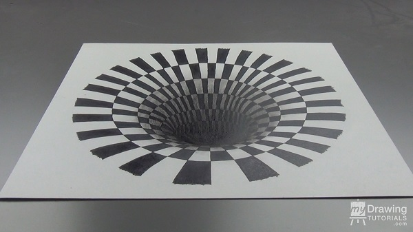 3D Hole Optical Illusion Drawing 1