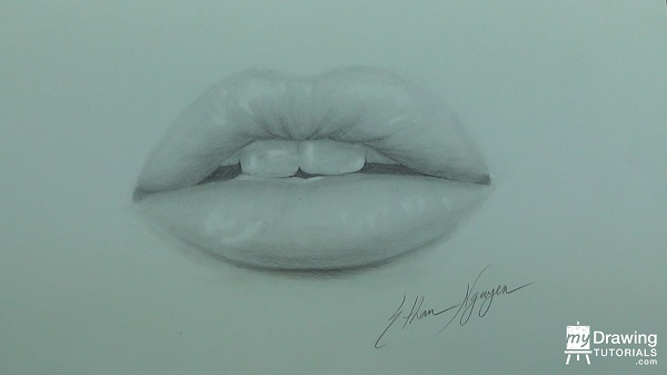 Glossy Lips Drawing 16