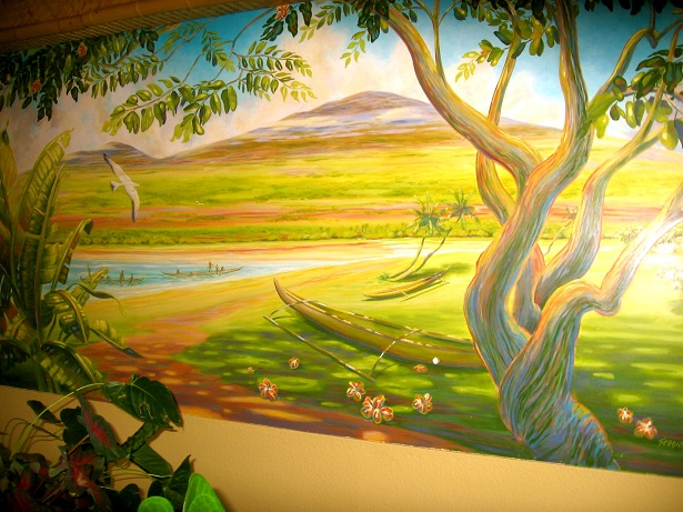 Acrylic Painting Wall Mural Of Tropic Jungle